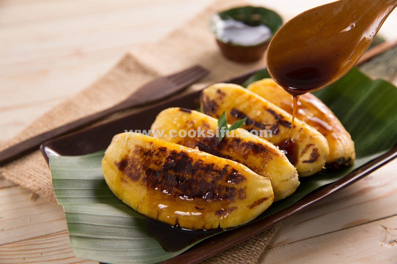 Traditional Indonesian Style Flat Grilled Banana